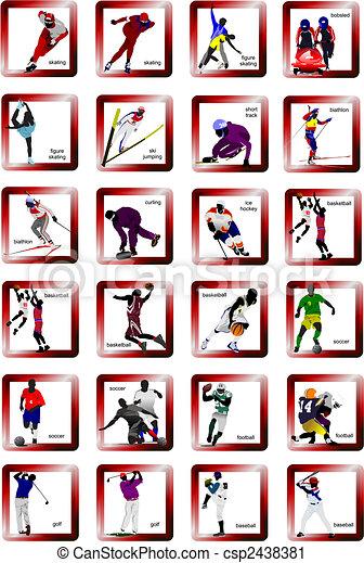 silueta, vetorial, desporto, icons., ilustração - csp2438381