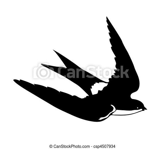 Silueta Voando Andorinhas Vetorial Fundo Branca