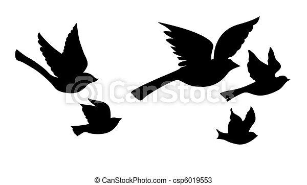 silueta, voando, vetorial, fundo, branca, pássaros - csp6019553