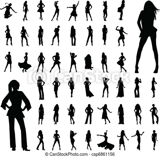 siluetas, 50, mujeres - csp6861156