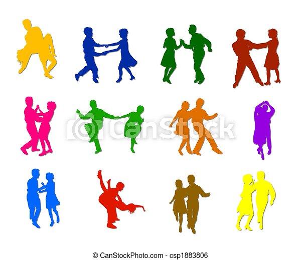 Siluetas de baile aisladas - csp1883806