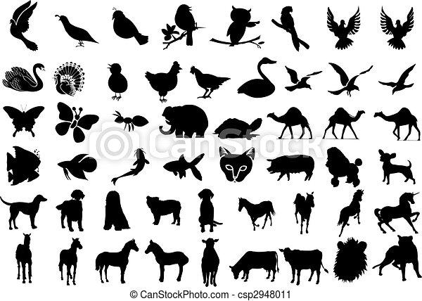 Siluetas de animales - csp2948011