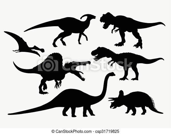 Siluetas de animales de dinosaurio - csp31719825
