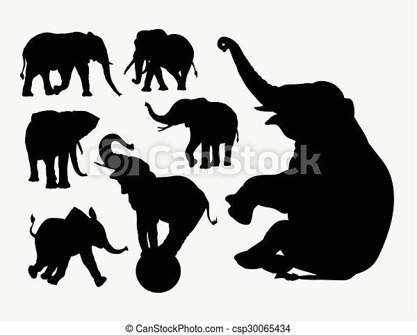 Siluetas de animales elefante - csp30065434
