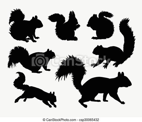 Siluetas de animales de ardilla - csp30065432