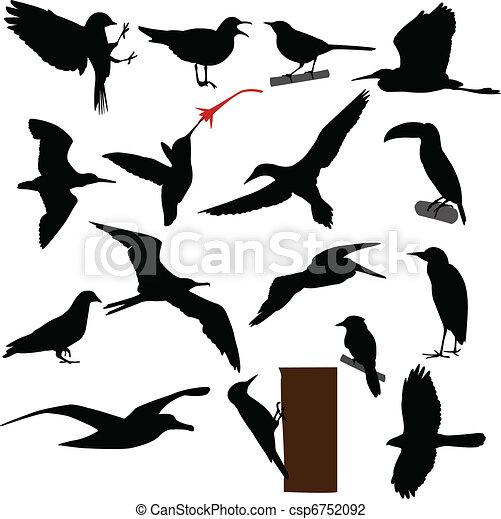 Pájaros siluetas - csp6752092