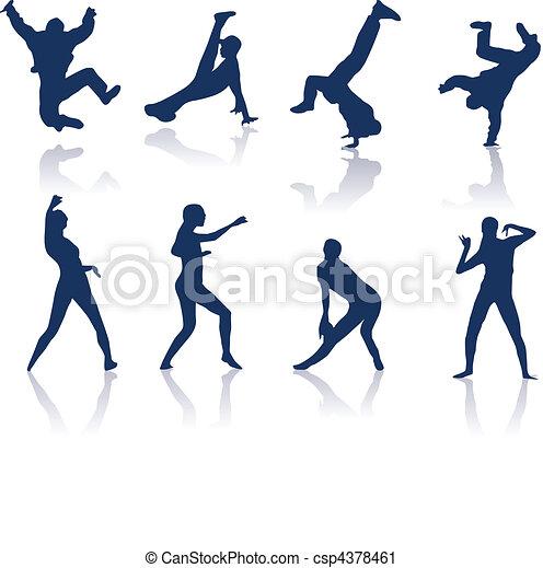 Bailando siluetas - csp4378461