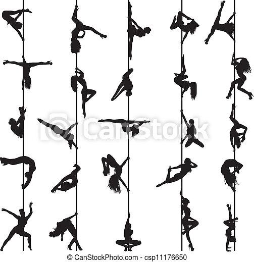 Un conjunto de siluetas de bailarinas de barra - csp11176650