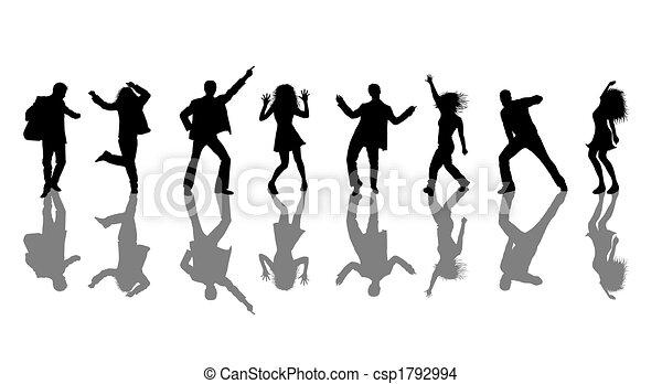 Las bailarinas disco siluetas - csp1792994