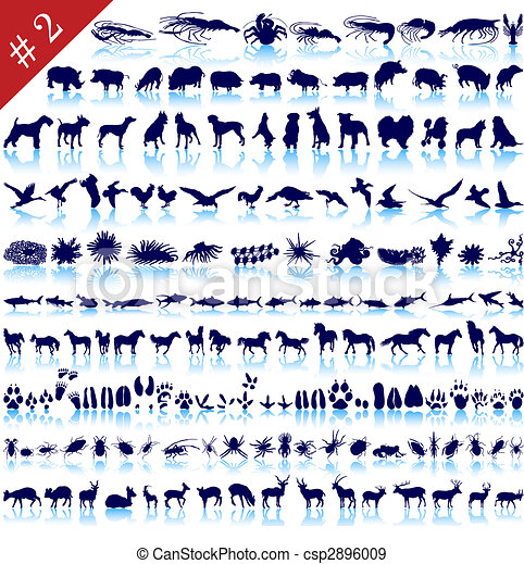 siluetas, conjunto, animal - csp2896009
