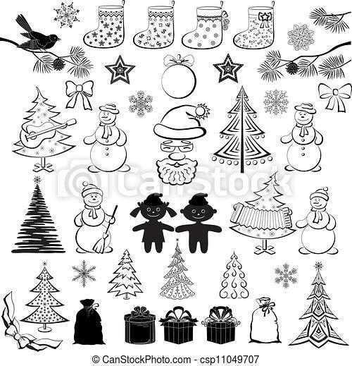 Dibujos Navideños Siluetas Negras Elementos De Navidad