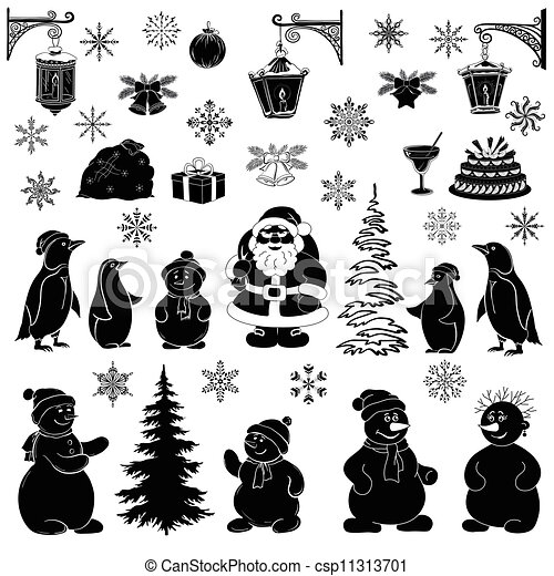 Dibujos Navideños Siluetas Negras En El Fondo Blanco Santa