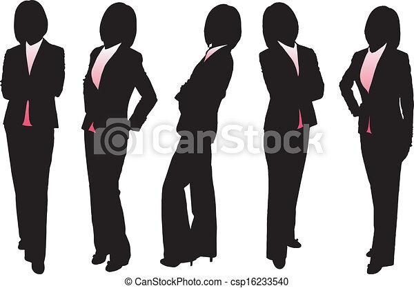 Siluetas de mujer de negocios - csp16233540