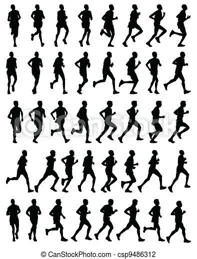 Corredores de maratón siluetas - csp9486312