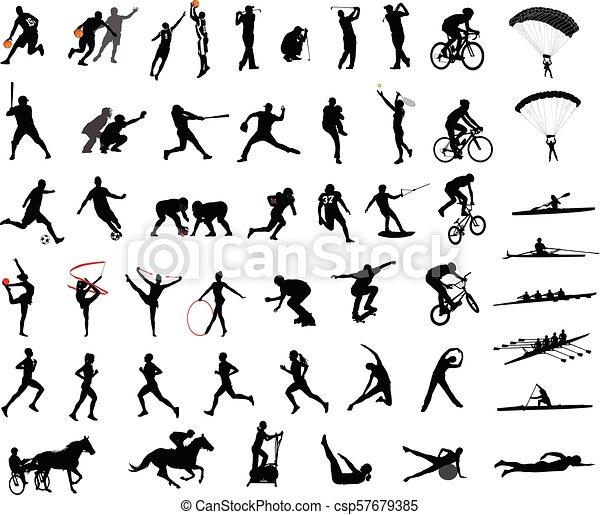 Colección de siluetas deportivas - csp57679385