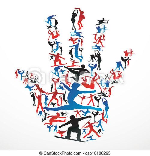 La mano de las siluetas deportivas - csp10106265