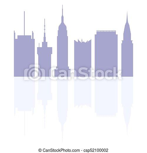 Siluetas de edificios modernos en los EE.UU. - csp52100002