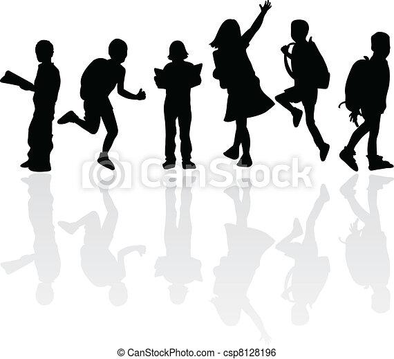 siluetas, educación, niños - csp8128196
