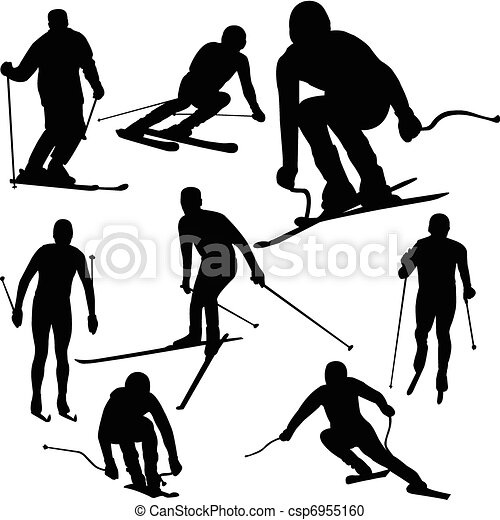 siluetas, esquiador - csp6955160