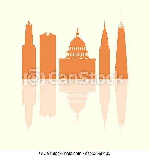 Siluetas de edificios famosos y edificios modernos en los EE.UU. - csp53668405