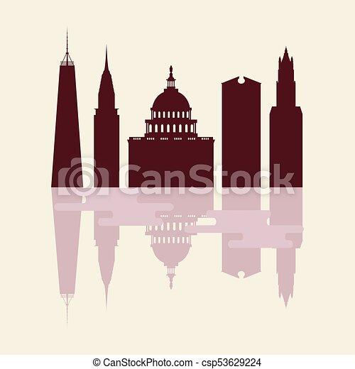 Siluetas de edificios famosos y edificios modernos en los EE.UU. - csp53629224