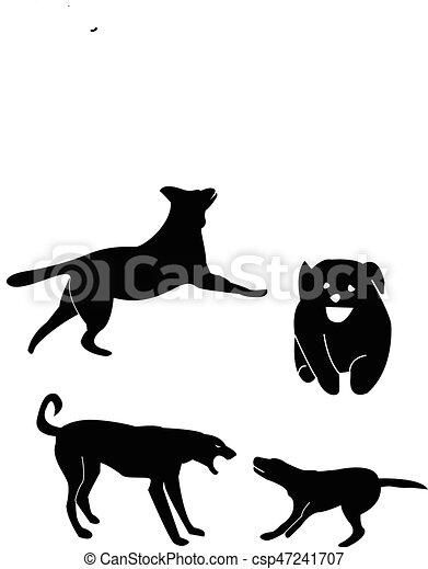Siluetas de perro de Greyhound - csp47241707
