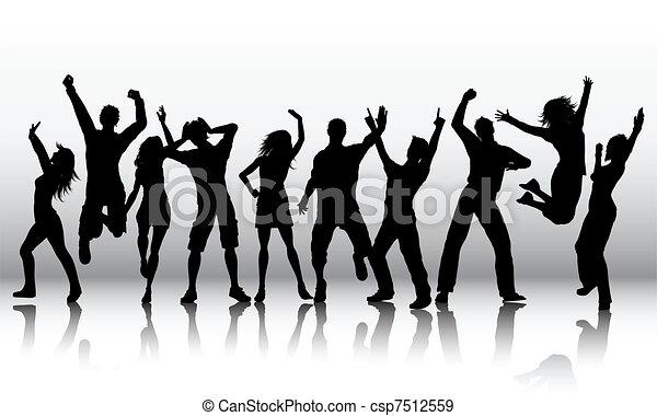 siluetas, gente, bailando - csp7512559