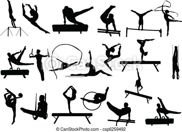 siluetas, gimnasia - csp6259492