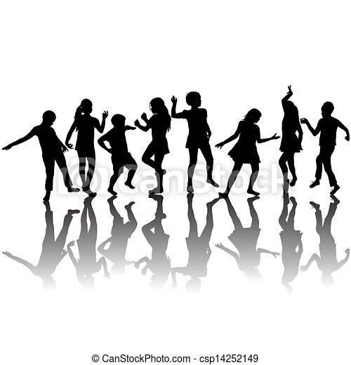 siluetas, grupo, niños, bailando - csp14252149