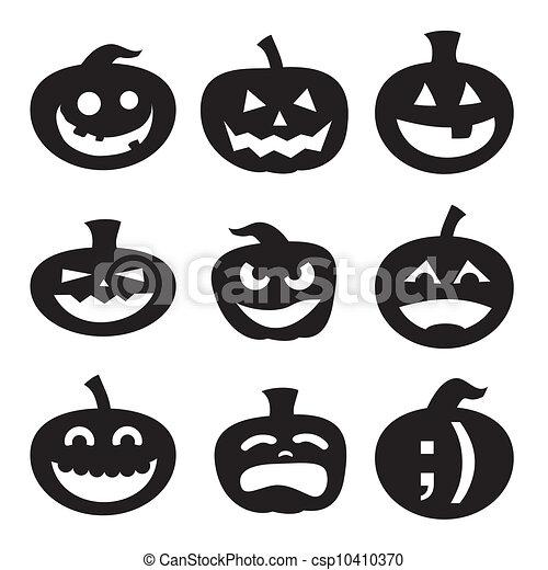 Siluetas, halloween, calabaza. Diseños, scary., farol gato o, set ...