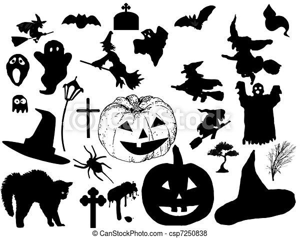 Siluetas de Halloween - csp7250838