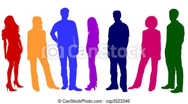 siluetas, joven, colorido, gente - csp3523346