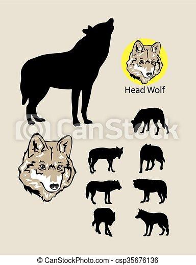 Siluetas de lobo y logo - csp35676136