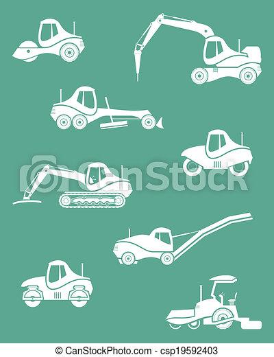 Siluetas de maquinaria de carretera - csp19592403