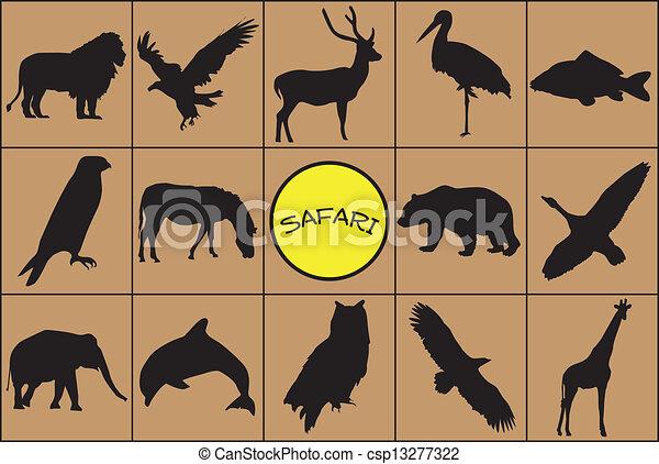 Siluetas negras de animales. - csp13277322