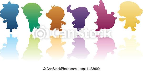 siluetas, niños, colorido - csp11433900