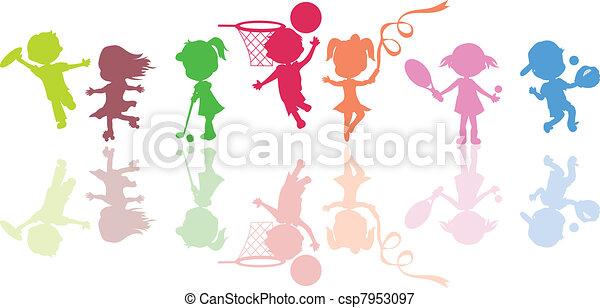 siluetas, niños, deportes - csp7953097