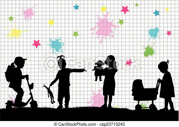 siluetas, niños - csp23710243