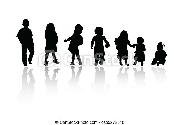 siluetas, -, niños - csp5272548