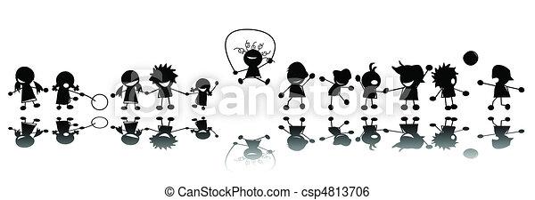siluetas, niños, feliz - csp4813706