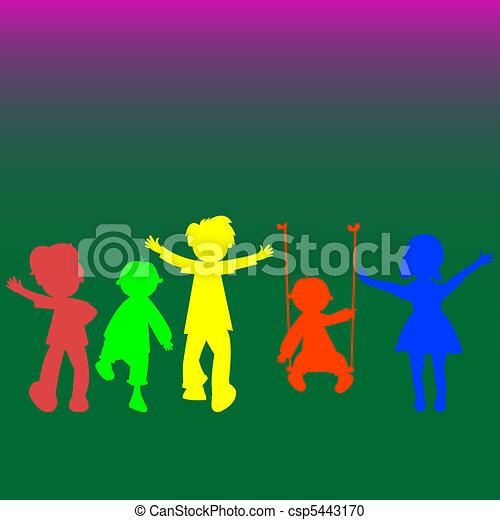 Retro niños pequeños siluetas - csp5443170
