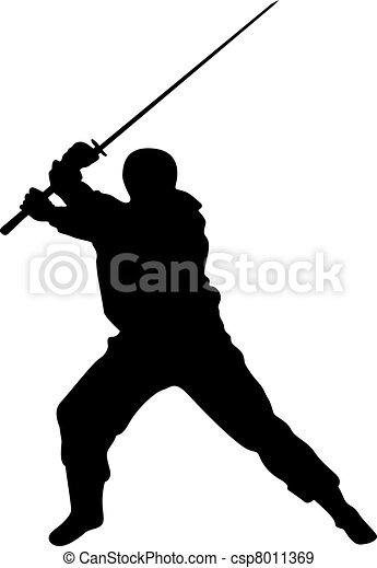 Siluetas de vector ninja - csp8011369