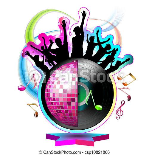 Bailando siluetas con bola disco - csp10821866