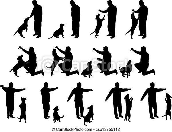 Un hombre con siluetas de perro - csp13755112
