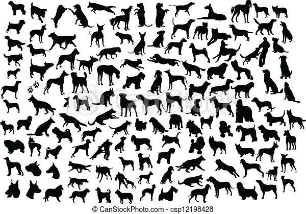 siluetas, perro - csp12198428