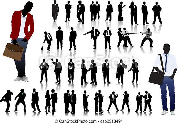 Gente de oficinas siluetas - csp2313491