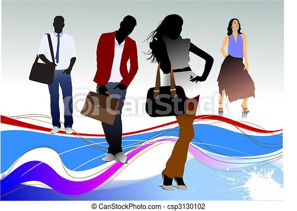 Gente de oficinas siluetas - csp3130102