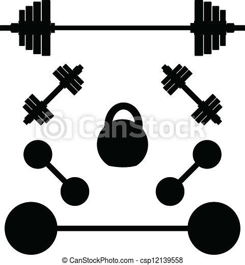 Siluetas de pesas - csp12139558