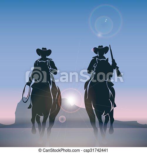 Vaqueros siluetas galopando por la pradera al amanecer - csp31742441