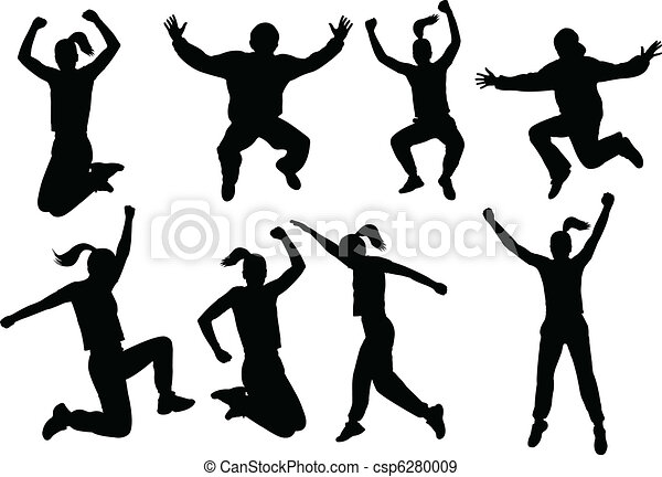 siluetas, saltar, gente - csp6280009